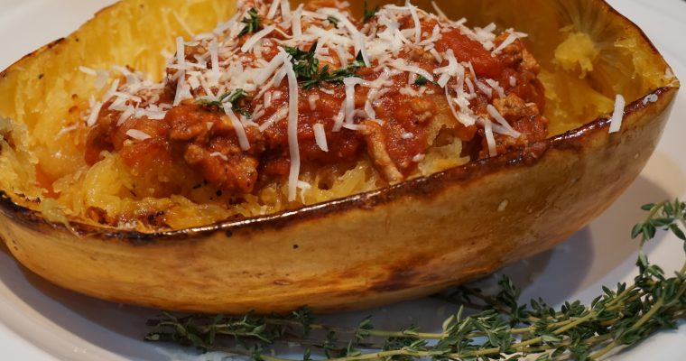 Spaghetti Squash with Turkey Meat