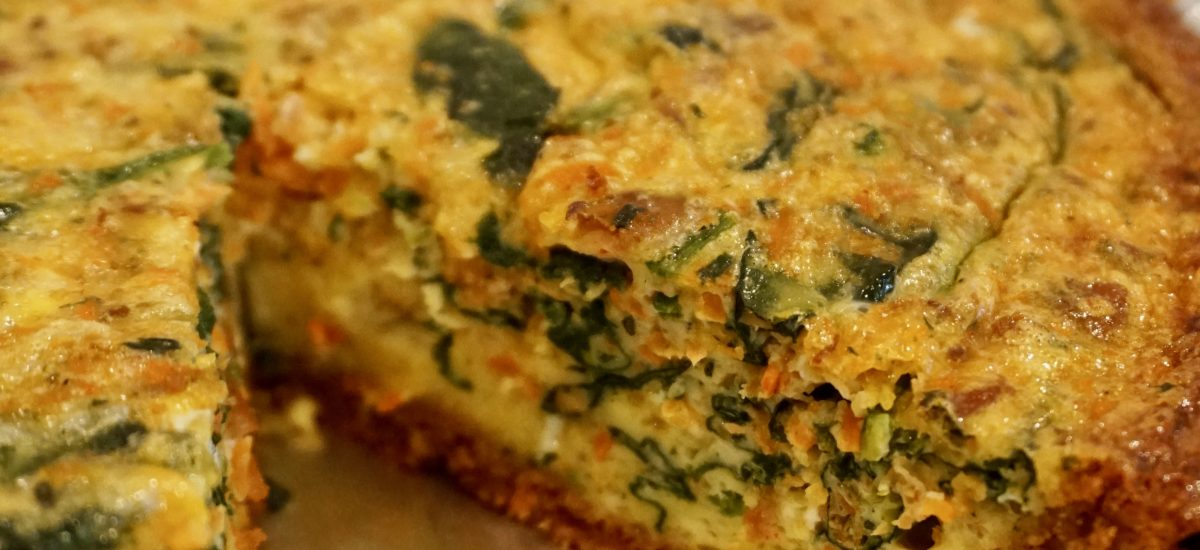 Spinach, Carrot and Bacon Quiche