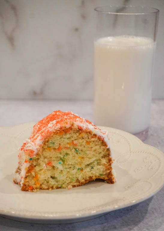 cake and milk