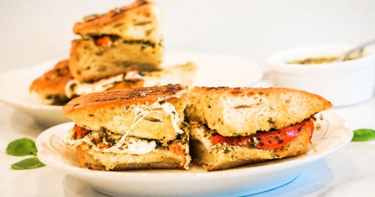 Caprese Grilled Cheese With Tomato, Fresh Mozzarella, Basil and Pesto
