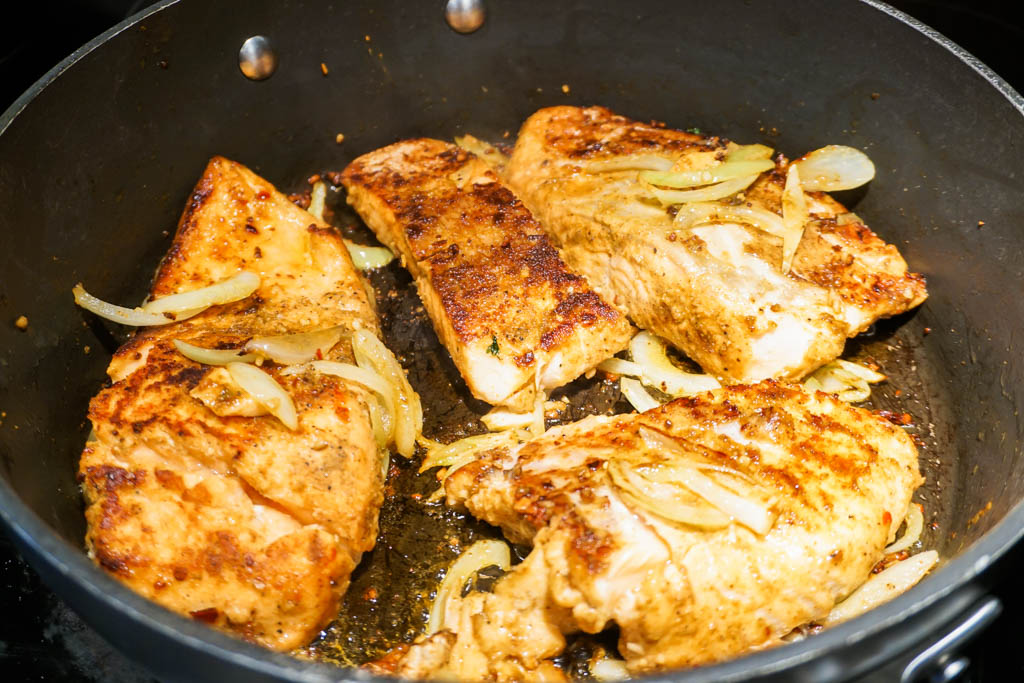 Seared Salmon and Onions
